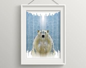 Polar Bear art print A4