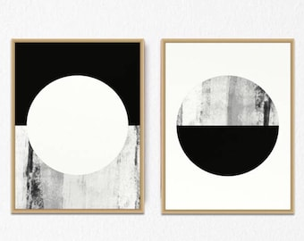 Best Selling Poster, Set of Two PRINTS, Set of 2, geometric Black and White wall decor, Printable Set, Poster Set, Scandinavian Art, Minimal