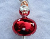 Vintage Christopher Radko Authentic Christmas Ornament crystal hand painted 1993 Mushroom Santa 93-212-0 2 sided Santa Face Rare Poland NOS