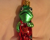 Vintage Christopher Radko Authentic Christmas Ornament crystal hand painted 1991 Froggy Frog Child Frog 94-073 Made in Poland NOS