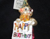 Vintage Christopher Radko Authentic Christmas Ornament 2001 Birthday Bear 01-0424-0 Made in Poland NOS