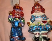 Vintage Christopher Radko Authentic ornaments 2000 Raggedy Jack Jill Ann Andy 00-336-0 Made in Poland NOS