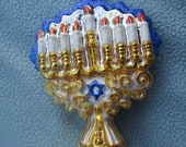 Vintage Christopher Radko Authentic Christmas Ornament crystal hand painted 2000 Sacred Lights 00-335-0 Jewish Menorah Made in Poland NOS