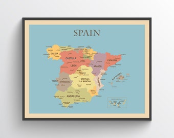 Map Of The Spain.Map Of Spain Etsy