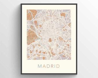 Madrid map | Etsy
