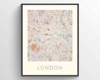 England And London Map.London Map Etsy