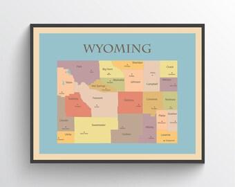 Wyoming map   Etsy
