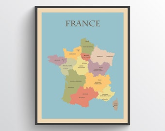 photo regarding Printable Map of France identified as France map Etsy