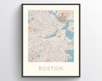Boston Street Map Etsy - Boston-on-a-us-map