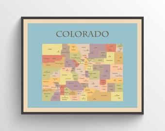 Colorado Map Art.Colorado Map Etsy
