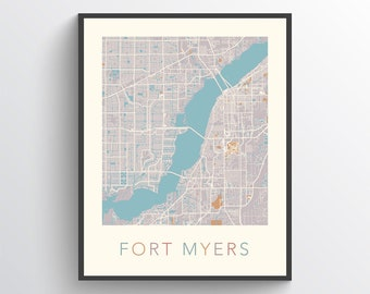 Map Of Fort Myers Florida.Map Of Fort Myers Etsy