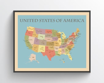 Map of united states | Etsy