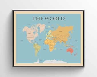 World map poster etsy world map world map poster map of the world world map print world map art world map art print world map decor world map continents gumiabroncs Image collections