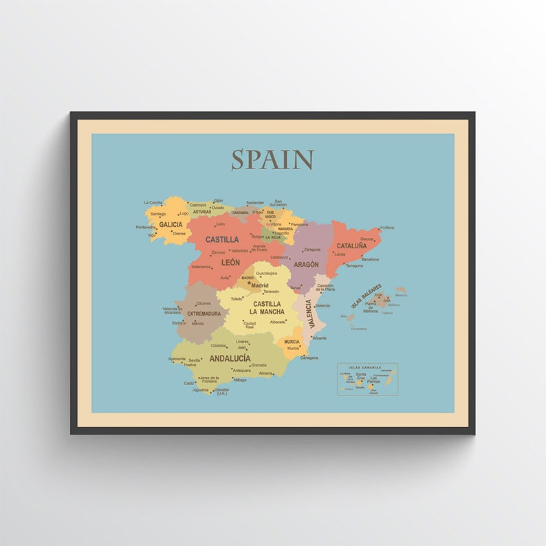 Map Of Spain Over Time.Spain Map Spain Poster Spain Print Map Of Spain Spain Map Print Spain Art Spain Wall Art Spain Decor Spain Art Print Office Decor