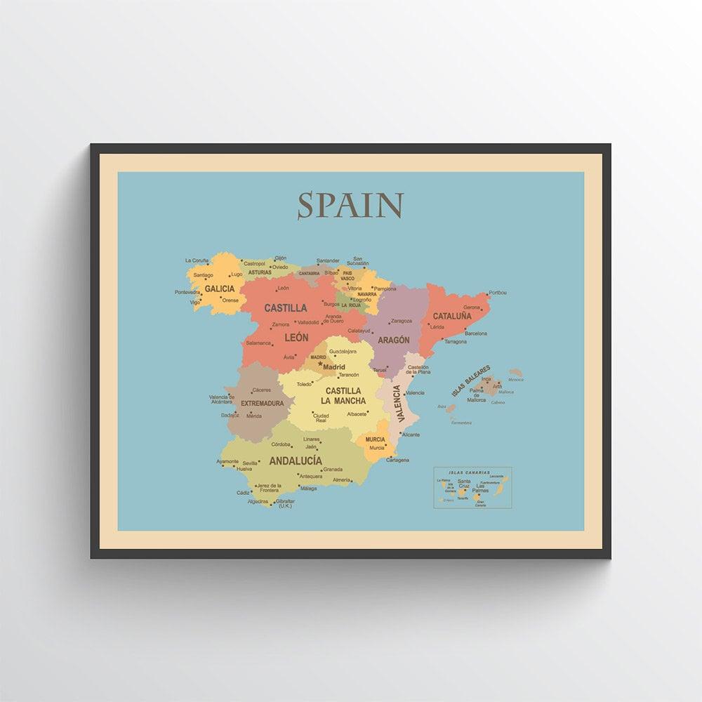 Calatayud Spain Map.Spain Map Spain Poster Spain Print Map Of Spain Spain Map Etsy