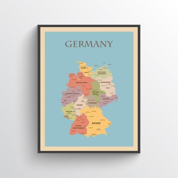 image regarding Printable Maps of Germany named Germany Map, Germany Poster, Germany Print, Map of Germany, Germany Artwork, Germany Decor, Germany Map Print, Germany Artwork Print, Germany