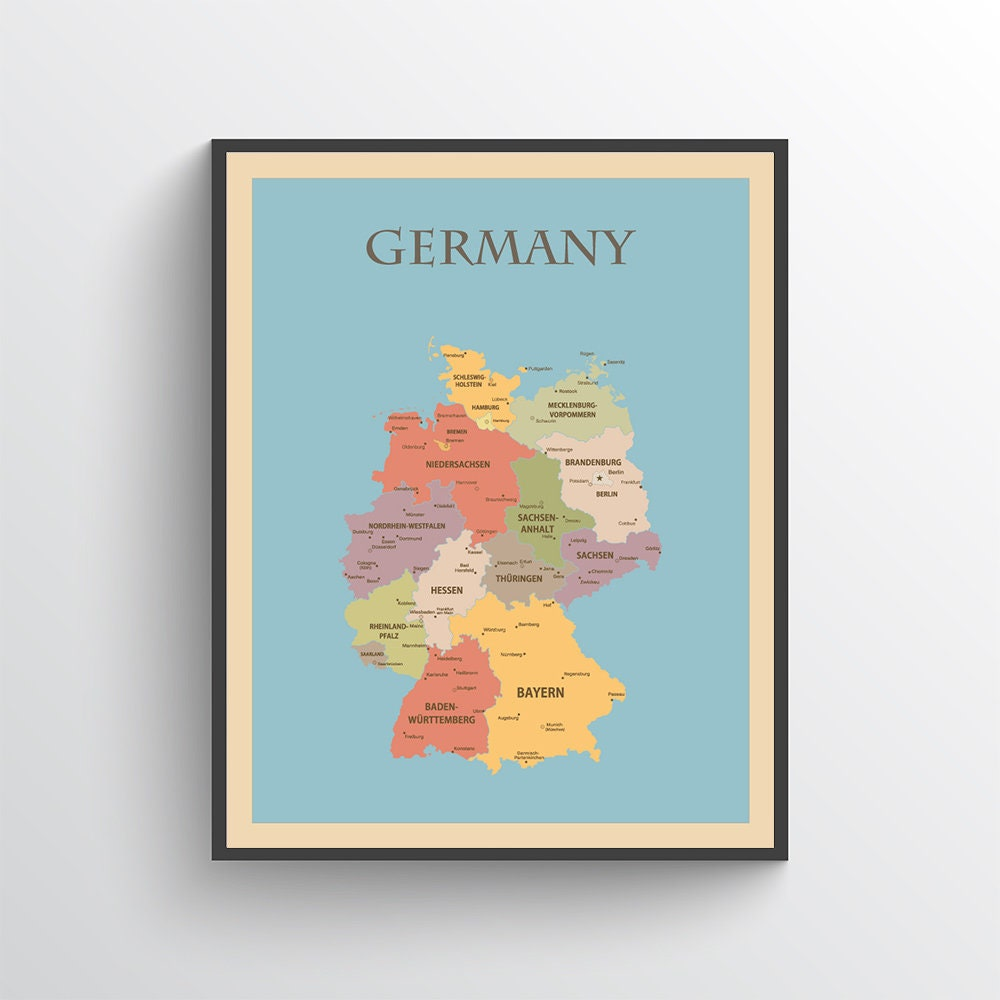 Map Of Germany To Print.Germany Map Germany Poster Germany Print Map Of Germany Germany Art Germany Decor Germany Map Print Germany Art Print Germany
