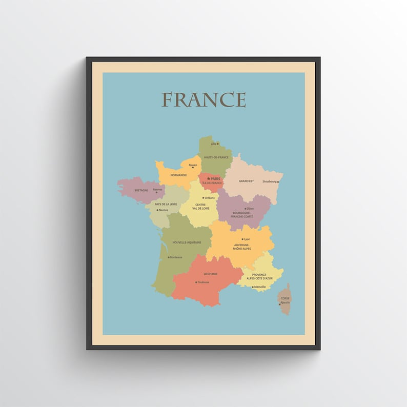 Map Of France Poster.France Map France Print France Poster Map Of France France Wall Art France Map Print France Art France Decor France Art Print