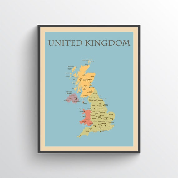 Uk Map Uk Poster United Kingdom Map Great Britain Map Etsy