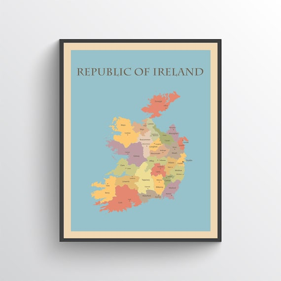 Map Of Ireland Print.Ireland Map Ireland Poster Ireland Print Map Of Ireland Etsy