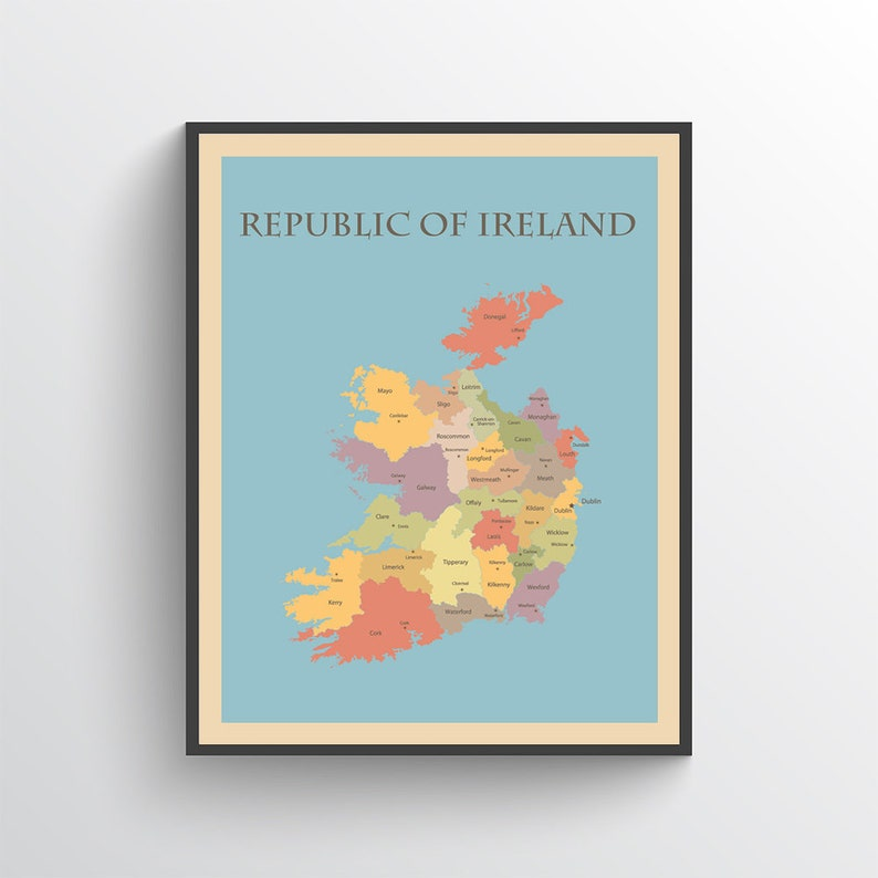 Print Map Of Ireland.Ireland Map Ireland Poster Ireland Print Map Of Ireland Ireland Art Ireland Decor Ireland Map Print Ireland Art Print Ireland