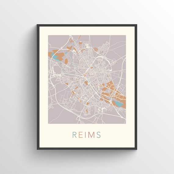 Reims Map Reims Poster Reims Print Map of Reims Reims | Etsy