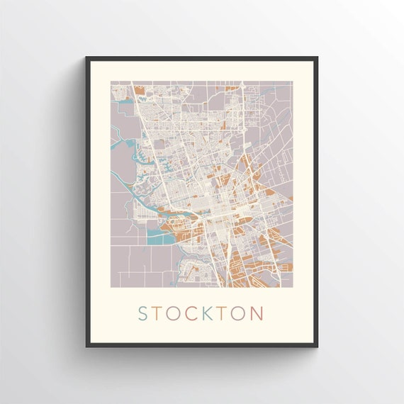 Stockton Map, Stockton California, Stockton Print, Stockton Poster,  Stockton Art, Stockton Map Print, Stockton Gift, Stockton Decor