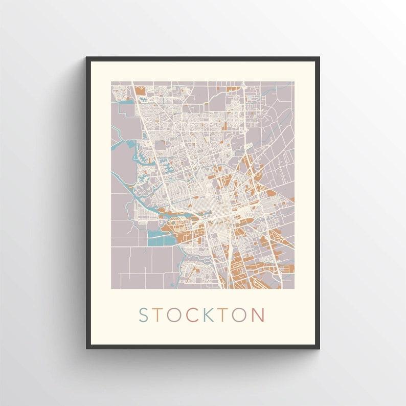 Stockton Map, Stockton California, Stockton Print, Stockton Poster,  Stockton Art, Stockton Map Print, Stockton Gift, Stockton Decor