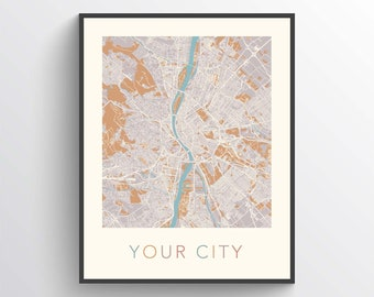 Any City Map, Custom Map Print, Personalized Map, Custom City Map, Custom Map, Custom Map Poster, Custom Street Map, Custom Map Gift