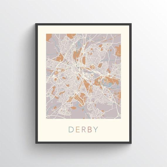 Derby Map, Map of Derby, Derby City Map, Derby Street Map, Derby Art, Derby  Print, Derby Poster, Derby Map Print, Derby, England, UK