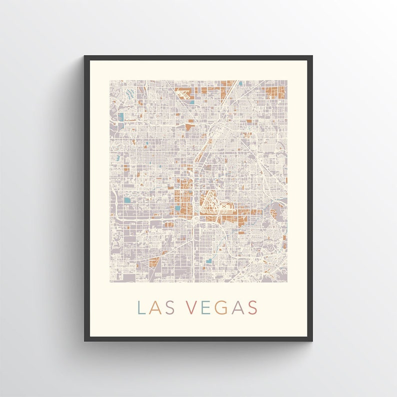 Las Vegas Map Las Vegas City Map Las Vegas Street Map Las | Etsy