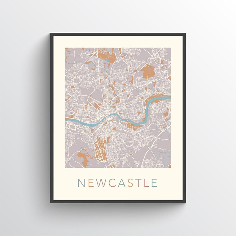 Map Of Uk Newcastle.Newcastle Map Newcastle Print Newcastle Poster Map Of Newcastle Newcastle Art Newcastle City Map Newcastle Street Map Newcastle Uk