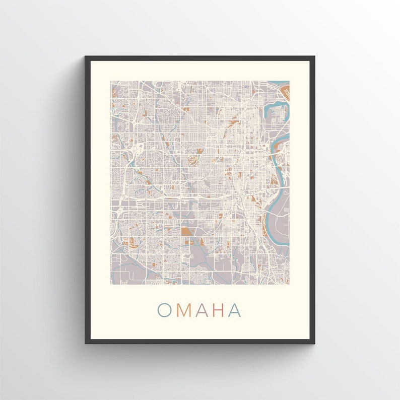 Omaha Map Omaha Poster Omaha Print Omaha City Map Map Of Etsy - Omaha-on-us-map