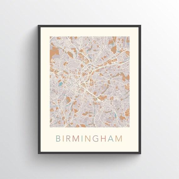 Map Of Uk For Printing.Birmingham England Map Poster Print Birmingham Uk Art Map Of Birmingham Street Map Birmingham Uk