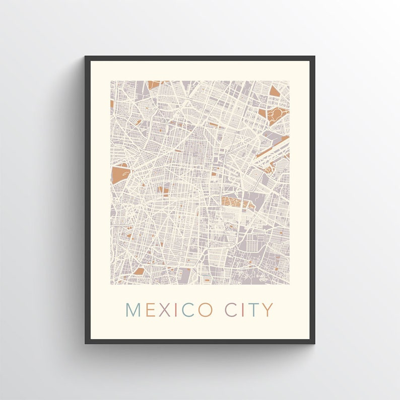 Mexico City Map Mexico City Print Mexico City Poster Mexico | Etsy