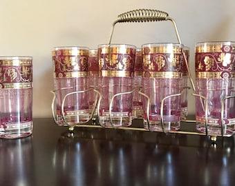 Cera barware etsy set 9 vintage mcm hollywood regency 1960s cera golden grapes 22k gold highball glasses carrier caddie burgundy cranberry gumiabroncs Gallery