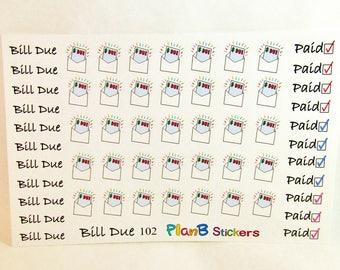 58 Bill Due Bill Paid Planner Calendar Stickers, Finance Stickers, Budgeting Stickers, Money Tracker Stickers