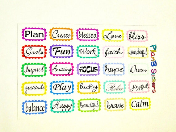 Positive Words Planner Stickers Motivational Word Stickers Etsy New Motivational Words