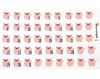 Pig Date Covers For Planners And Journals, Date Dots, Calendar Numbers, Countdown Numbers, Journal Stickers