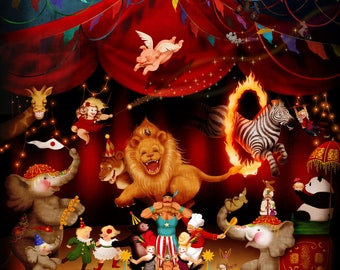 Circus Nursery wall art, kids room art, nursery decor, kids room decor, Boys room wall art