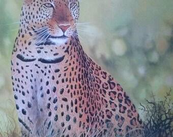 Leopard, Malerei, Leinwand Wand Hängen, Afrika Kunst, Wohnkultur, Wand Dekor Malerei,,  Afrikanische Wandbehang, Tier Gemälde, Wohnzimmer Dekor
