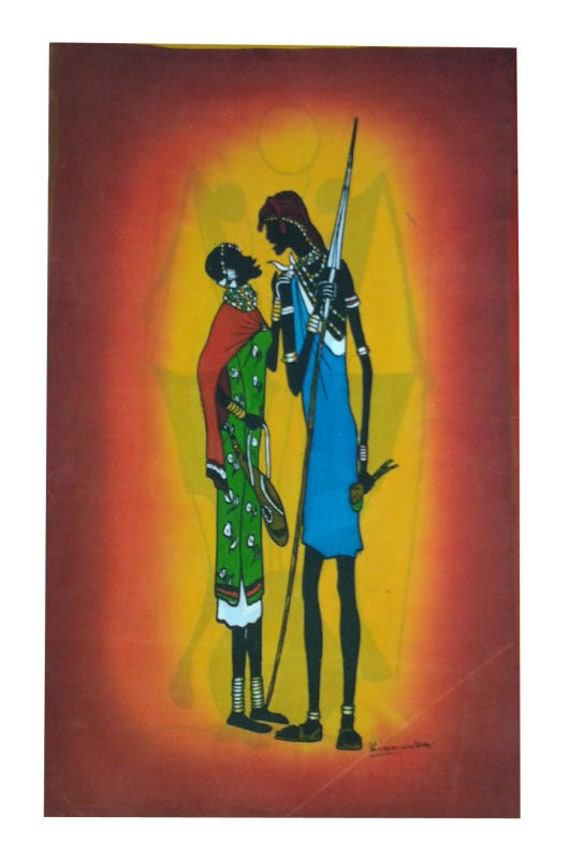 Moran Couple Batik Wall Hanging Batik Wall Hanging Home Decor Wall Decor Batik Kenya Handmade Batik African Wall Hanging Hotel Decor