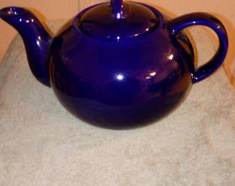 Vintage Colbalt Blue Ceramic Teapot - 001