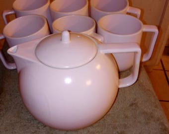 PRICE REDUCTION -- Vintage Sasaki Colorstone Vignelli Designs, Inc. Teapot and 6 cups in Matte Pink - 004