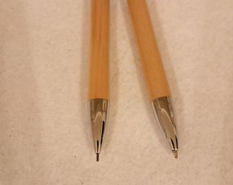 PRICE REDUCTION -- Vintage Chrome and Bambo pen and mechanical pencil set -- 004