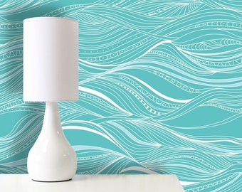 42c55798aaf0 Nautical Waves, Removable Wallpaper, Self Adhesive Wallpaper, Pasted  Wallpaper, Mural, Temporary, Feature Wall