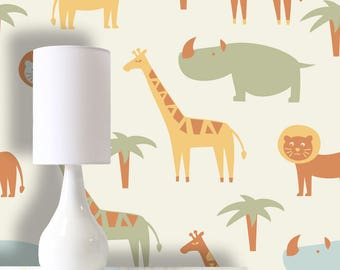 Zoo Wallpaper Removable Self Adhesive Pasted Mural Temporary Feature Wall