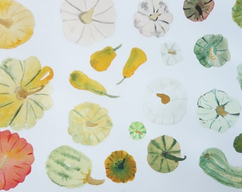 Watercolor painting / / illustration / / vegetables / / culinary art / / kitchen poster / / nature