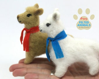 Llama Gifts Alpaca Needle Felted Animal Llama Plush Toy Stuffed Llama Needle Felted Miniature Animal Soft Sculpture Wool Miniature Toy Llama