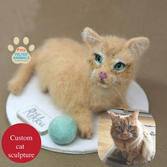 Sat Lover Gift Sustom Stuffed Cat Plush Needle Felt Cat Etsy